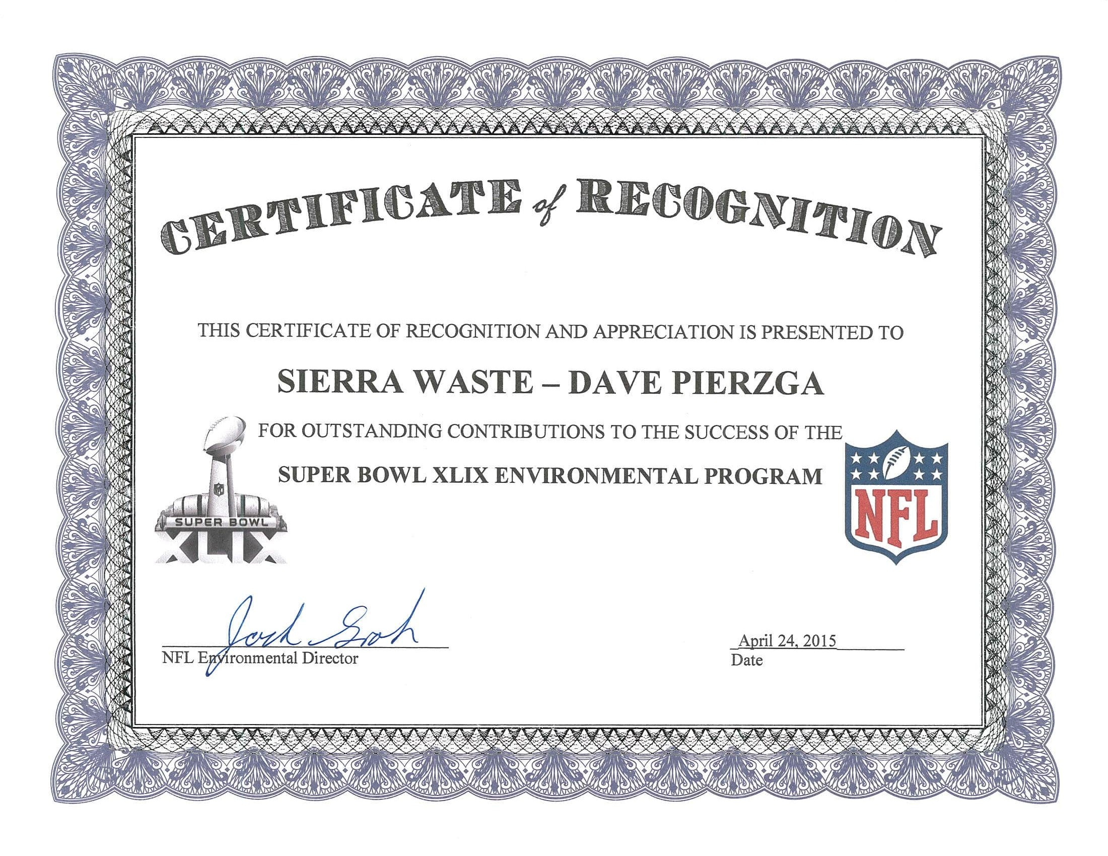 NFL Certificate of Recognition